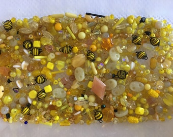 Yellow Vintage Czech Glass and Crystal Lot - 420 grams!