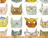 Smarty Cats - Cats Faces White by Maria Carluccio from Windham Fabrics
