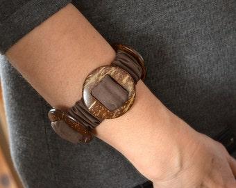 Brown textile bracelet, modern textile bracelet, artsy bracelet, gift for woman