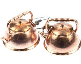 Kettle earrings copper kettle pot copper tea kettle tea Miniblings