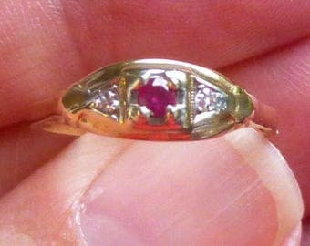 Art Deco Engagment Ring  Ruby and  diamond Ring....Engagment Ring