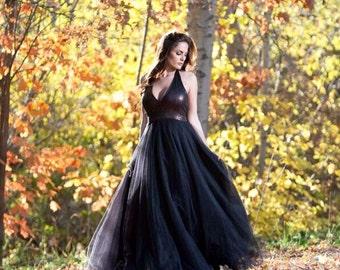 RESERVED for Dana Bernhardt- 1 custom Black Sequin & Tulle Ball Gown
