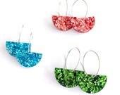FLOOD FUND RAISER - Bright Day Hoop - Glitter Acrylic Hoop Earring - Laser Cut Acrylic Drop Earring - 100% Profit Donated