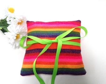 Orange Ring Bearer Pillow - Mexican Mini Cushion - Aztec Tribal nursery Decor - Wedding Decoration - Home Decor - Bowl Filler