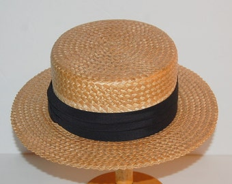Vintage Stetson Deluxe Boater Straw Hat Skimmer Antique Size 7