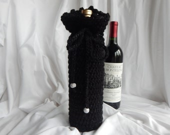 Crochet Wine Bottle Cover Cozy Gift Wrap - Black and Silver Metallic with Glitter Beads