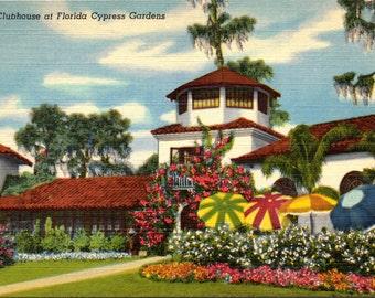 Cypress Gardens, Florida, Clubhouse - Linen Postcard - Postcard - Unused (L)