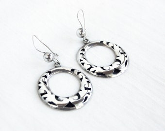 Dangle Hoop Earrings Mexican Sterling Silver Cut Out Hoops Vintage Dangles Taxco Mexico