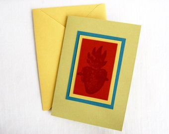Sacred Heart Greeting Card Handmade Mexican Note Card Blank Valentine Religious Stationery Gift Card