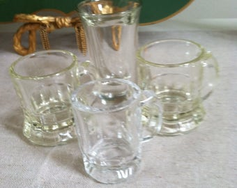 Vintage shot glasses set of four shot glasses three mug style shot glasses shot glass collector