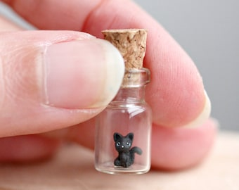 OOAK Tiny micro black kitten in a bottle - miniature Halloween cat terrarium