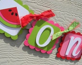 Watermelon Birthday Party High Chair Mini Banner in Pink and Green - Watermelona Party Decorations - High Chair Garland - First Birthday