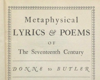 Poetry book Metaphysical Lyrics and Poems of the Seventeenth Century, vintage 1920s book
