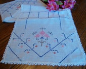 Linen Dresser Scarf Hand Embroidery with Crochet Trim Vintage Table Runner