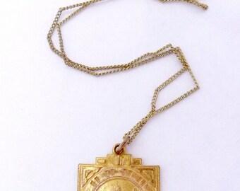 Vintage Gold Filled Sterling Chain Art Deco Greek God Medal Pendant Necklace 22655