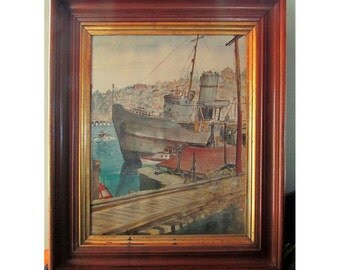 Watercolor of Ship in Lake Union Seatte Wa. in the 1940s by Margaret Mattocks Women Painters of Washington