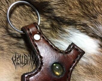 Hellbent Brown Leather Mjölnir Pendant with labradorite - One of a Kind