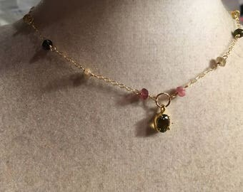 Watermelon Tourmaline Necklace - Pink Green and Gold Filled Jewellery - Gemstone Jewelry - Dainty Chain - Pendant