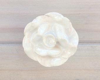 Rose Knob White Ceramic Drawer Pull Knob Cabinet Knob Dresser Knob