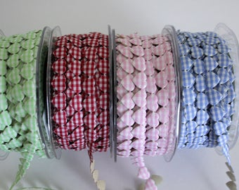 "3/8"" Gingham Hearts - Adhesive Backed - 4 Colors"