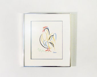 Vintage Picasso Rooster Le Coq Print Lithograph Framed