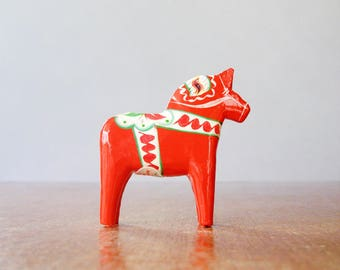 Vintage Swedish Dala Horse - Orange / Red 3 Inch