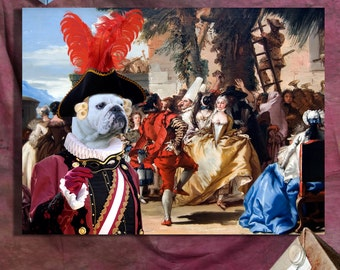 English Bulldog Art CANVAS Print Fine Artwork of Nobility Dogs Dog Portrait Dog Painting Dog Art Dog Print