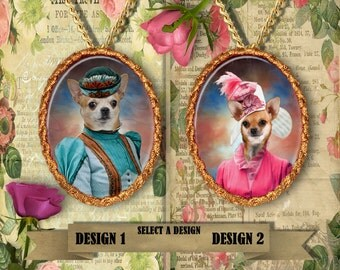 Chihuahua Jewelry/Chihuahua Pendant or Brooch/Chihuahua Portrait/Dog Handmade Porcelain Jewelry/Custom Dog Jewelry by Nobility Dogs