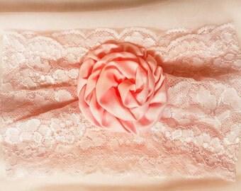 Extra Wide Elastic Lace Garter, Pastel Pink, Sparkle, Satin Rose, Flower, Wedding, Prom, Bachollerette, Comfortable, Soft, New Romantic