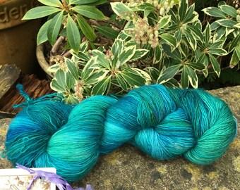 "100 gms hand painted merino singles lace  weight yarn. "" jade  """