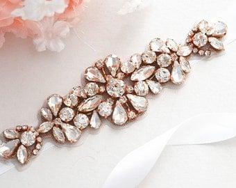 Rose Gold Bridal Crystal, Pearl sash. Rhinestone Applique Wedding Belt., vintage sash belt