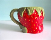 Vintage Strawberry Mug Handmade Decor Coffee Tea Kitsch Ceramic Fruit Collectible
