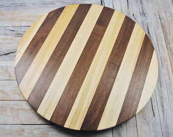 Wood Lazy Susan - Wood Lazy Susan - Maple and Walnut - Wood Carving - Centerpiece - Wooden Lazy Susan