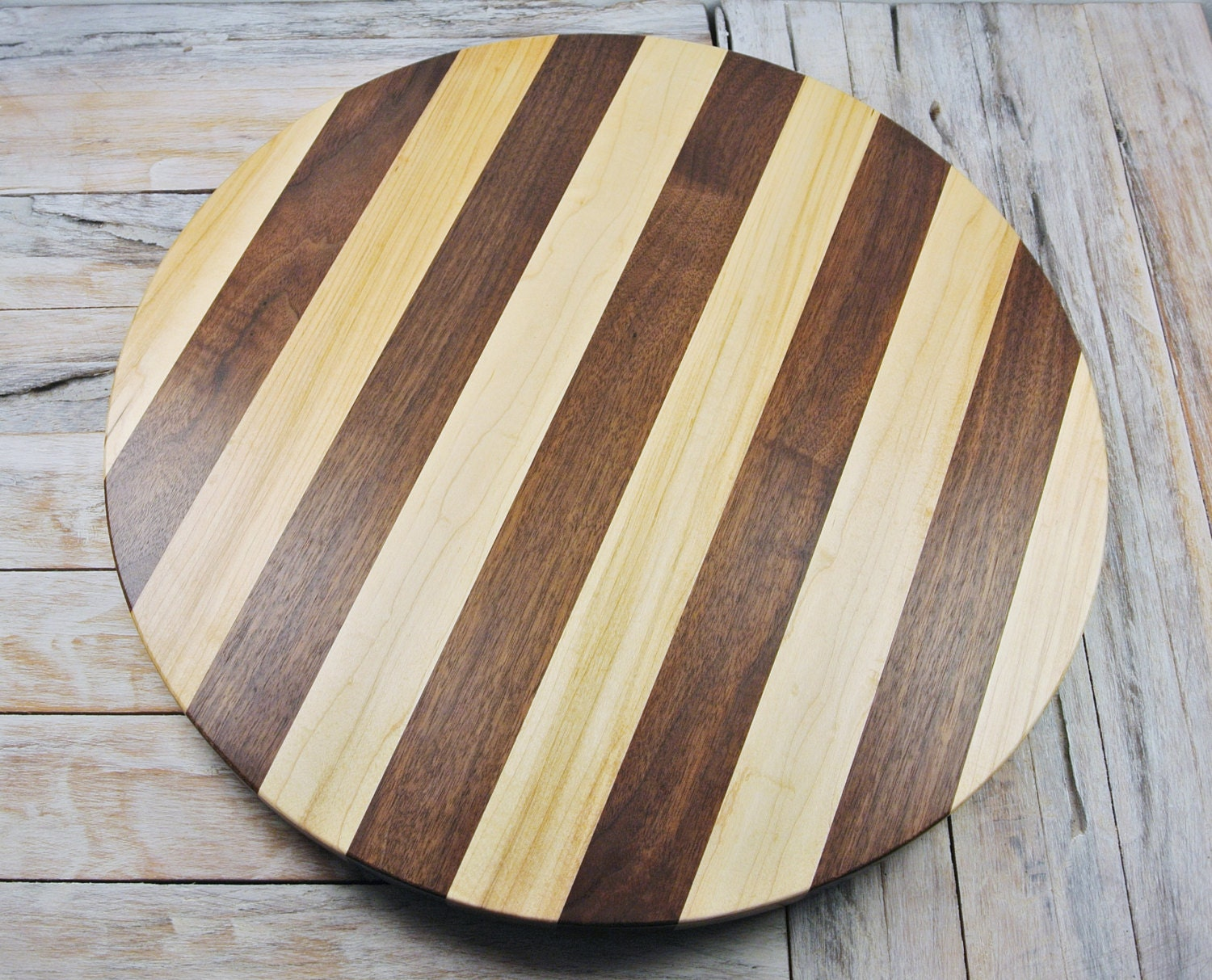 Wood lazy susan maple and walnut