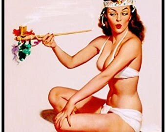 Pass that Peace Pipe Pin Up Girl Magnet