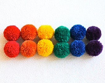 Catnip Pom Pom Cat Toys - Set of Twelve (Rainbow) - READY TO SHIP