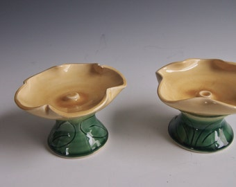 Ceramic petal bowls in yellow- jewelry dish, candy dish