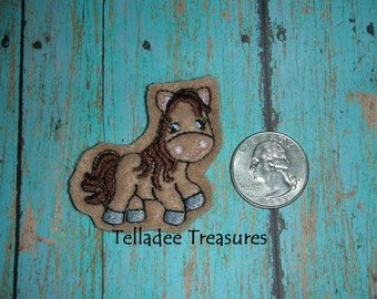 Whimsical Horse Feltie -Small brown felt - Great for Hair Bows, Reels, Clips and Crafts - Western Full Body