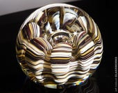 Art Glass Paperweight - Earthy Colors with Organic Sea Life Shape and Bubble - Large