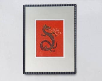 Dragon Giclee Print, in antique rustic frame, flower breathing, Susan Sanford Art