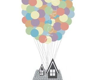 Digital Download-Up Inspired Digital Art-Instant Download-Balloons-Vector Art-Stock-Disney-House-Watercolor Downloads
