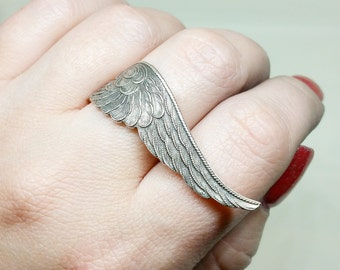 Angel Wing Ring - Silver Wing Ring - Guardian Angel Jewelry - Large Wing Statement Ring - Feather Ring - Cocktail Ring