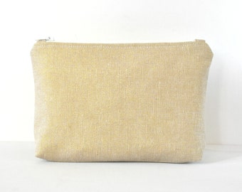 Gold glitter linen pouch woman's beauty make up travel cosmetics bag metallic gold print in large.