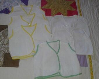 Four vintage diaper shirts, handmade? size 2 to 3 months? unused, white seer sucker, green yellow white cotton bias trim, tiny white buttons