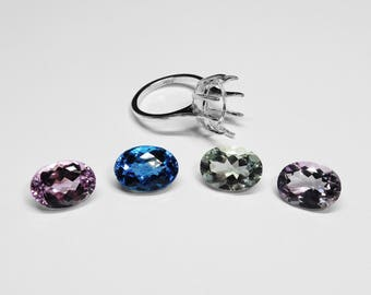 Choice of Kunzite, Blue Topaz, Prasiolite, and Amethyst Ring in Silver, 14 x 10 mm