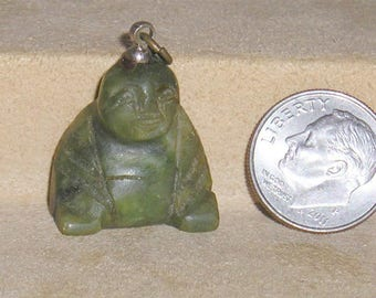 Vintage Carved Real Jade Buddha Charm Or Pendant 1960's Jewelry 7068