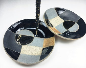Dark Incense Holder Ceramic Catchall Dishes