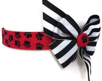 Max's Paws Red Black White Dog Collar size Medium
