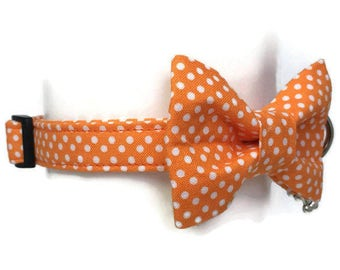 Orange Polka Dot Bow Tie Dog Collar All Sizes