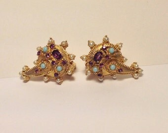 Exotic Clip Earrings Amethyst Turquoise and Pearl Marked 'Copy 1950'